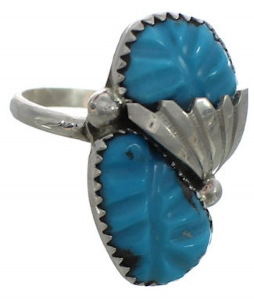 Native American Turquoise Sterling Silver Ring Size 8-3/4 FX26931