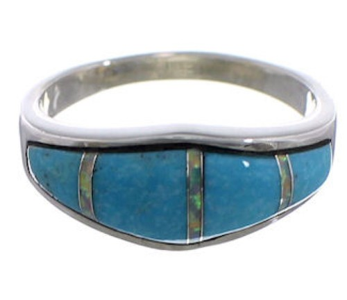 Turquoise Opal Inlay Sterling Silver Southwest Ring Size 7-3/4 CX48423