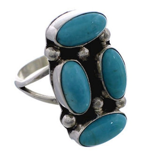 Native American Turquoise And Silver Jewelry Ring Size 7-3/4 EX25085