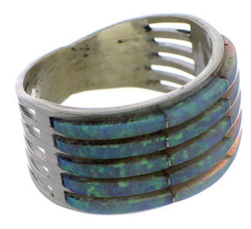 Zuni Indian Opal Inlay And Sterling Silver Ring Size 8-3/4 EX26749