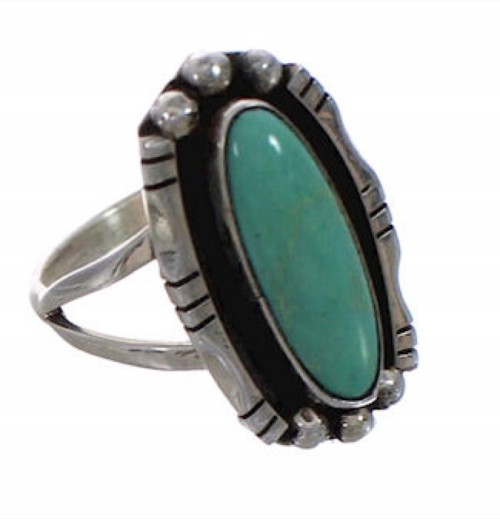 Kingman Turquoise American Indian Silver Ring Size 6-1/2 PX25048