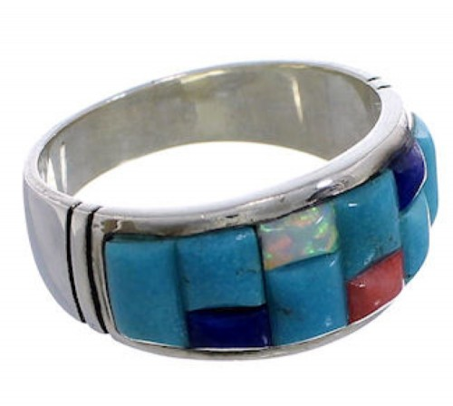 Multicolor Inlay Genuine Sterling Silver Ring Size 10-1/2 EX50684