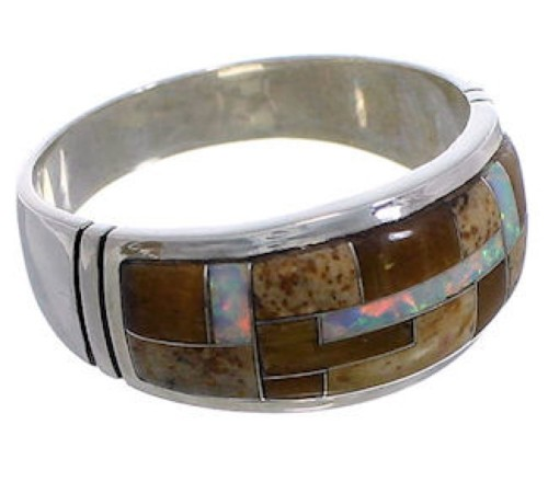 Southwestern Multicolor Inlay Silver Ring Size 9-1/4 EX50717