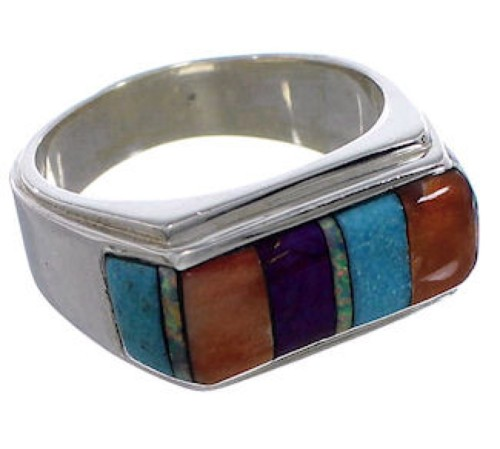 Multicolor Southwest Sterling Silver Ring Size 10-1/2 EX50737