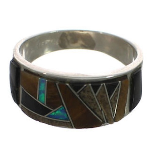 Sterling Silver Southwest Multicolor Inlay Ring Size 7-3/4 CX51976