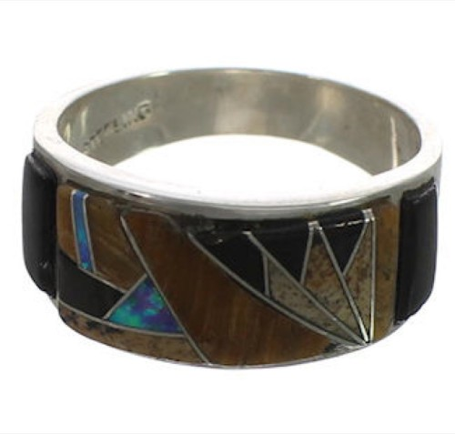 Genuine Sterling Silver Southwest Multicolor Inlay Ring Size 6 CX52013