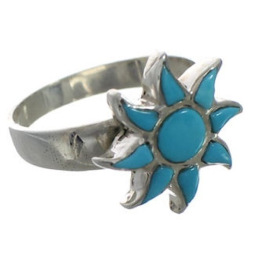 Turquoise Southwest Sun Silver Ring Size 7-1/2 CX52093