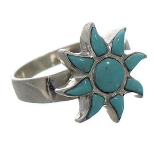 Turquoise Sun Silver Southwest Ring Size 7-1/2 CX52095