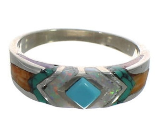 Multicolor Inlay Authentic Sterling Silver Southwest Ring Size 7-3/4 CX52142