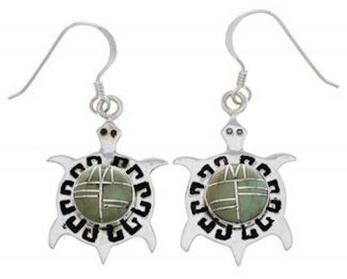 Turqouise Inlay Turtle Southwest Sterling Silver Earrings PX31980