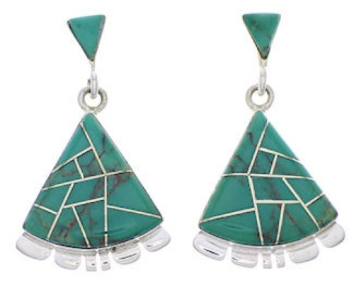 Southwestern Silver Jewelry Turquoise Inlay Earrings PX32131