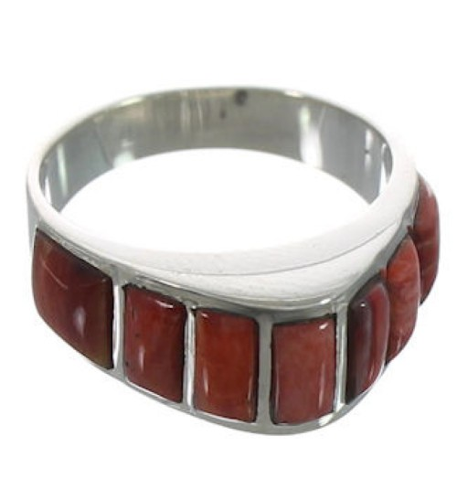 Silver Jewelry Red Oyster Shell Inlay Ring Size 5-3/4 VX36724