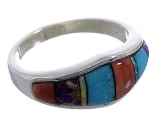 Multicolor Inlay Sterling Silver Ring Size 6-3/4 EX43923