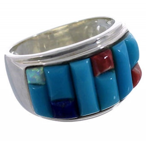 Multicolor Inlay Southwest Ring Size 8-3/4 EX43944