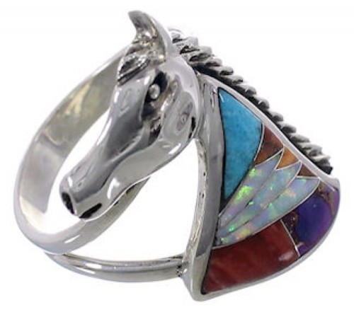 Multicolor And Silver Southwest Horse Ring Size 7-3/4 EX43961