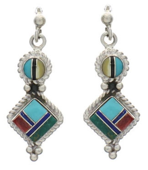 Silver Multicolor Inlay Post Dangle Earrings FX31052