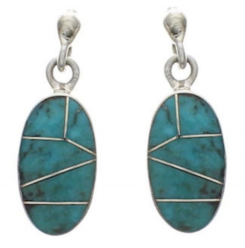 Turquoise Inlay Jewelry Genuine Sterling Silver Earrings FX31127