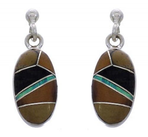 Multicolor Inlay Southwest Silver Post Dangle Earrings FX31129