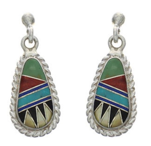 Authentic Sterling Silver Southwest Multicolor Post Earrings FX31138