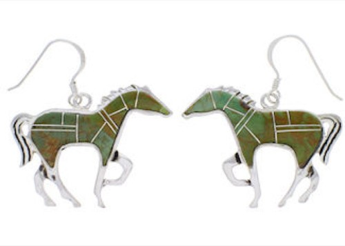 Turquoise Horse Sterling Silver Earrings FX31844