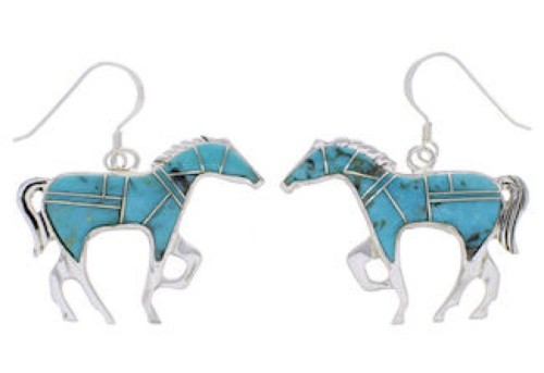 Horse Silver Southwest Turquoise Earrings FX31850