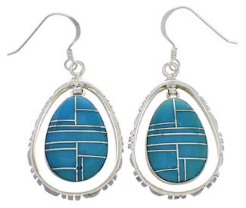 Sterling Silver Turquoise Inlay Earrings FX31876