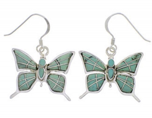Silver Jewelry Butterfly Turquoise Earrings FX31907