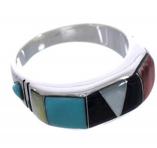 Authentic Silver Southwestern Multicolor Ring Size 8-1/2 AX36951