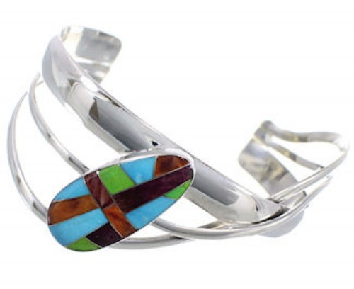 Multicolor Inlay Sterling Silver Cuff Bracelet PX28425