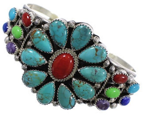 Multicolor Sterling Silver Navajo Indian Jewelry Cuff Bracelet EX24969