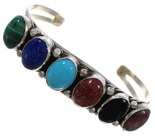Multicolor American Indian Sterling Silver Cuff Bracelet PX25780