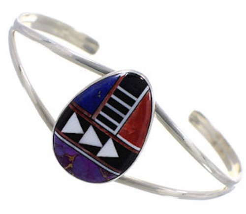 Sterling Silver Multicolor Inlay Cuff Bracelet MX27775