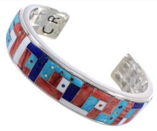 Multicolor Inlay Jewelry Silver Southwest Cuff Bracelet MX27845