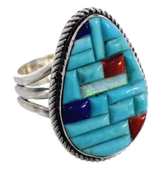 Sterling Silver Multicolor Southwest Ring Size 8-3/4 CX51604