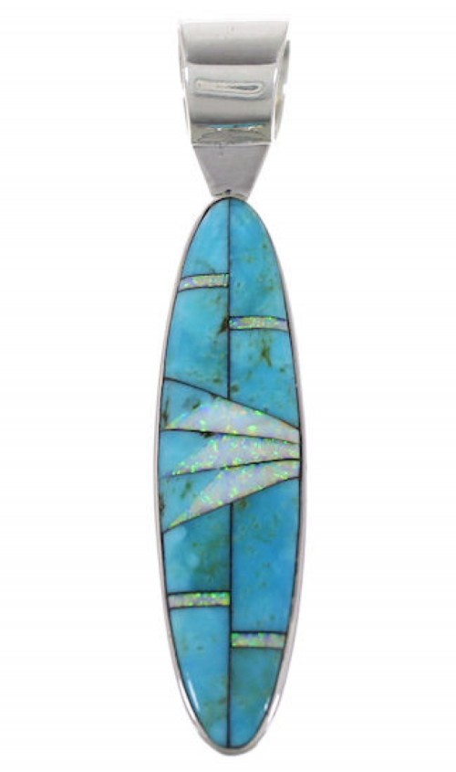 Turquoise Opal Inlay Southwestern Pendant PX30864