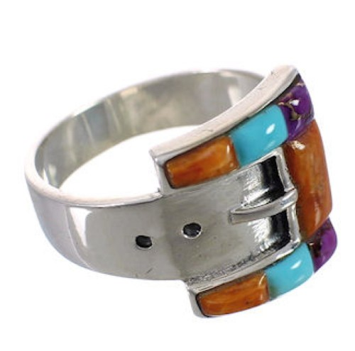 Sterling Silver Multicolor Inlay Belt Ring Size 6-3/4 CX50407