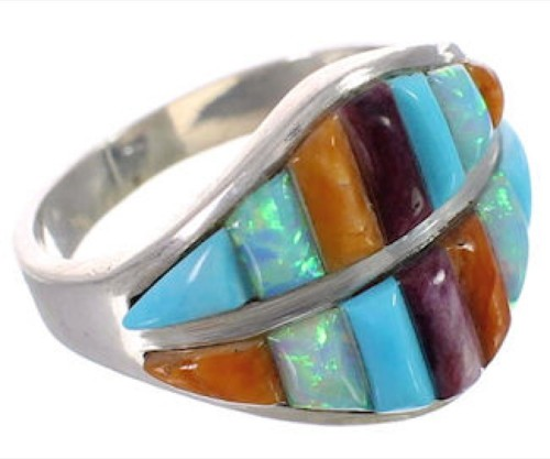 Sterling Silver Multicolor Southwest Ring Size 7 CX50420