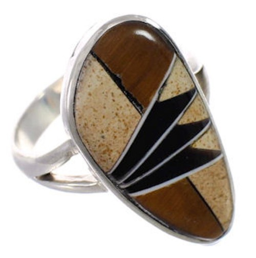 Multicolor Silver Southwest Jewelry Ring Size 5-1/2 CX50434