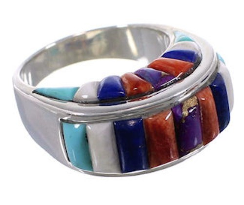 Southwest Silver Multicolor Inlay Ring Size 8-1/2 CX49971