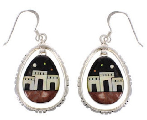 Multicolor Silver Native American Village Design Hook Earrings PX31392