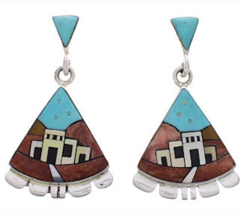Native American Or Pueblo Design Multicolor Silver Earrings PX31430
