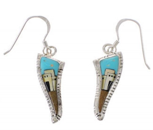 Native American Village Pueblo Design Multicolor Earrings PX31456