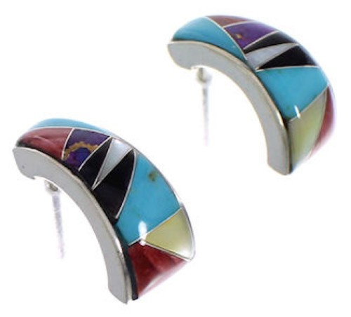Southwest Multicolor Inlay And Silver Earrings EX32251