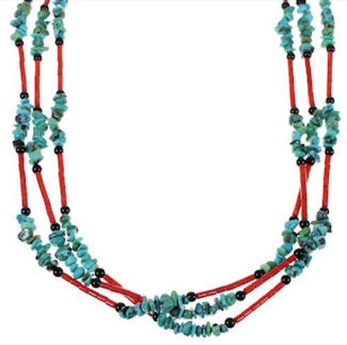 Multicolor 3-Strand American Indian Bead Necklace Jewelry EX26574
