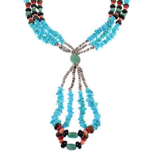 3-Strand Silver Multicolor American Indian Bead Necklace PX33162