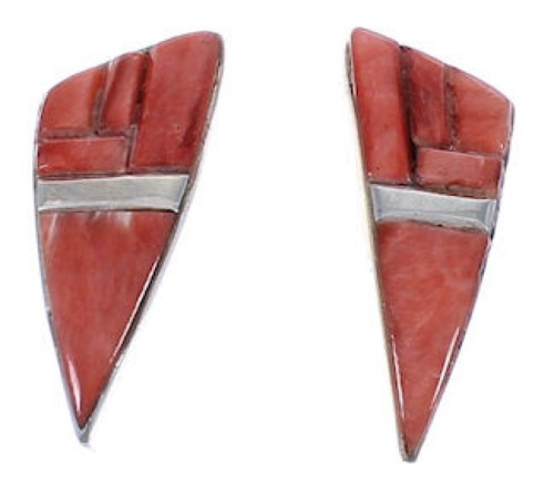 Red Oyster Shell Inlay Genuine Sterling Silver Post Earrings TX43375