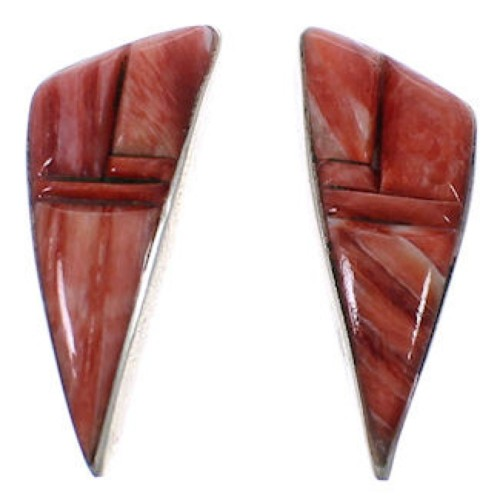 Red Oyster Shell Authentic Sterling Silver Post Earrings TX43379