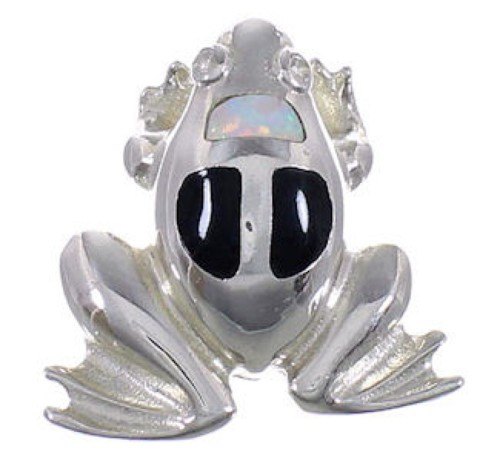 Opal And Jet Frog Southwest Silver Pendant FX30810