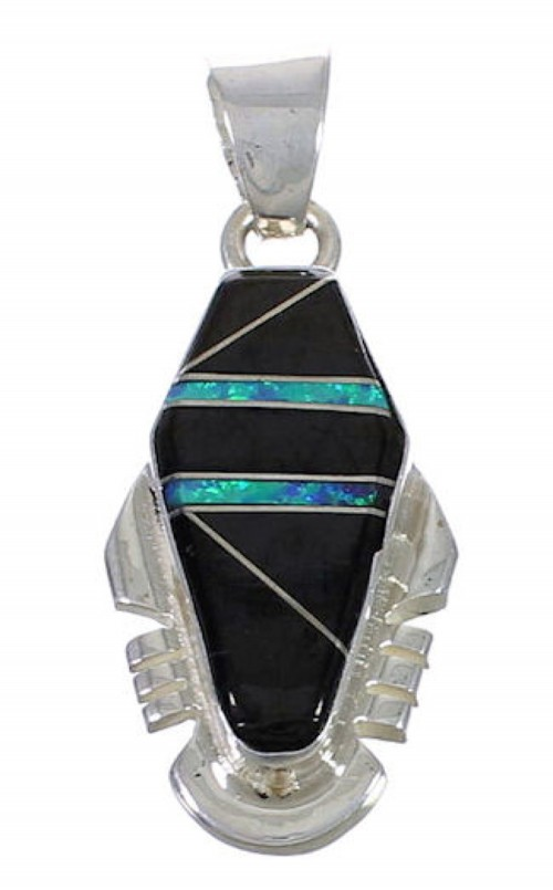 Sterling Silver Jet And Opal Slide Pendant WX43173