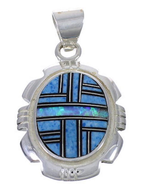 Sterling Silver Multicolor Inlay Southwest Pendant WX43308